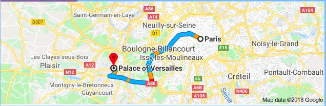 Map - Paris to Versailles