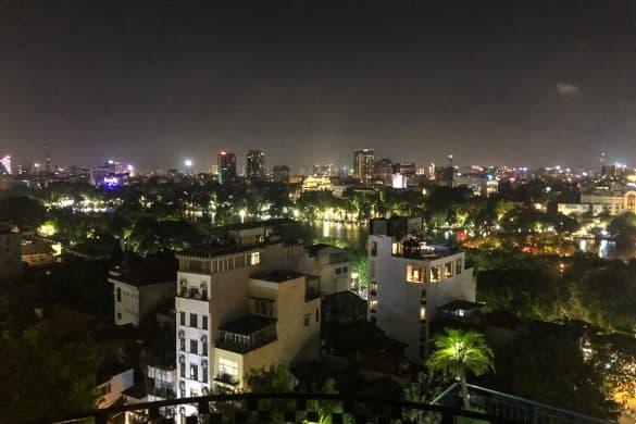 Utsikt over Hanoi på natta